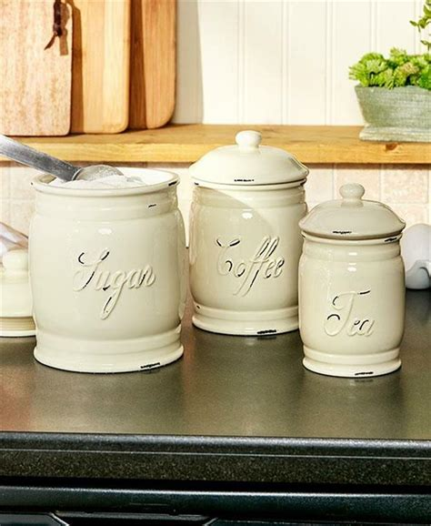 White Ceramic Kitchen Canisters by Set Of 3 Embossed Classic Ceramic Kitchen Countertop