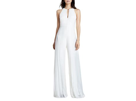 white jumpsuits for lyst crepe georgette jumpsuit in white