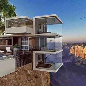 Contemporary home hanging off the edge of a cliff ...