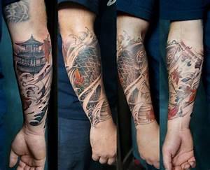 Forearm sleeve Koi Fish and Temples tattoo - Chronic Ink