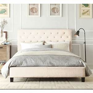 Chester Queen Bed Frame in Light Beige White Fabric Buy