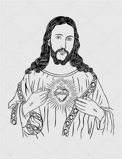 Jesus Sacred Drawing Heart Line Christ Sketch