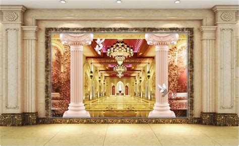 3d Wallpaper Deco by 3d Wallpaper Room Picture Pillars Lobby Home Decor