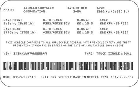sample federal motor vehicle safety standard fmvss