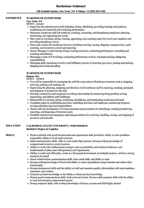warehouse supervisor resume resume ideas