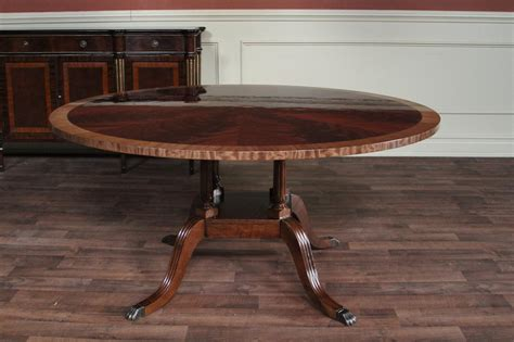 "60"" Round Mahogany Dining Table, Single Pedestal Dining"
