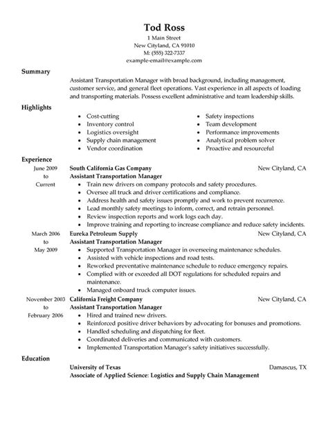 assistant manager resume examples transportation resume