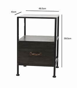 Table De Chevet Metal : table de chevet en m tal noir avec tiroir ~ Melissatoandfro.com Idées de Décoration