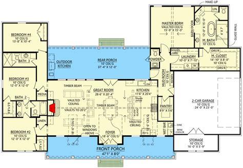 bed split bedroom modern farmhouse plan  vaulted open concept interior sm