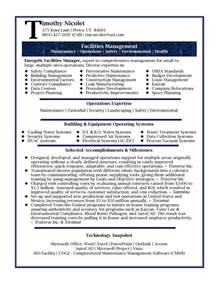 facilities manager resume objective professional resume sles by julie walraven cmrw
