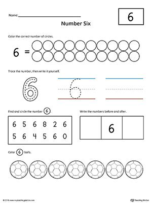 number 6 practice worksheet myteachingstation
