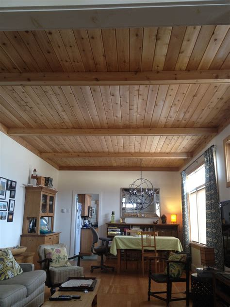 cedar plank ceiling  cottage  false beams kam
