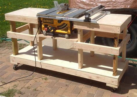 make a table saw table diy table saw stand on casters the wolven house project
