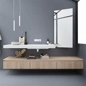 45 meuble de salle de bains comportant 1 plan de toilette With salle de bain design avec meuble avec vasque intégrée