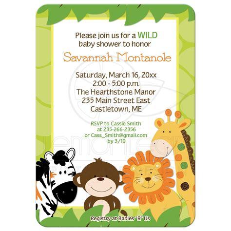 bright jungle safari animals baby shower invitation