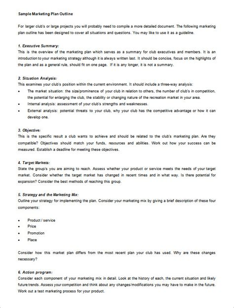 How To Create A Strategic Plan Template by Marketing Plan Outline Template 13 Free Sle Exle