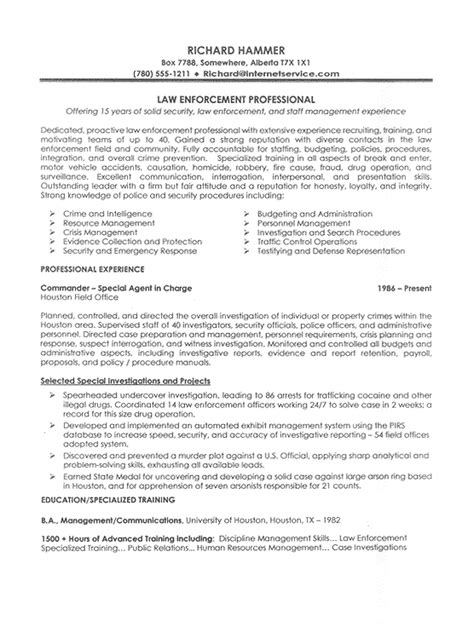 resume exle enforcement professional experience