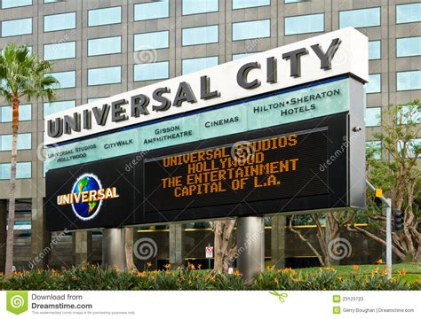 Marquee Board For Universal City Theme Park Editorial