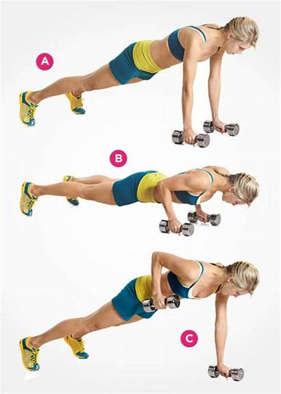 Dumbbell Abs Workout Push Row Renegade Pack