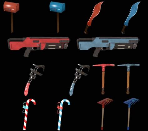 team colored weapons pack team fortress  skin mods