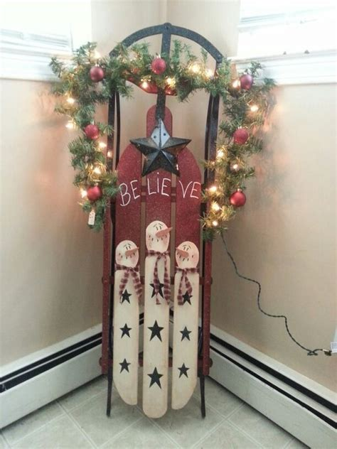 handpainted snowman wooden sleigh images