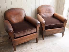 pair of leather club chairs puckhaber decorative