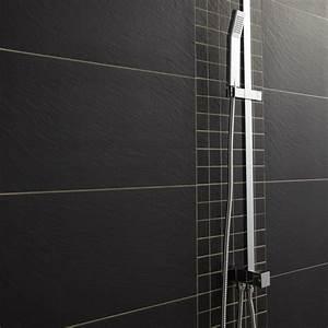 Salle De Bain Carrelage Noir : carrelage sol et mur noir vesuvio x cm leroy ~ Dailycaller-alerts.com Idées de Décoration