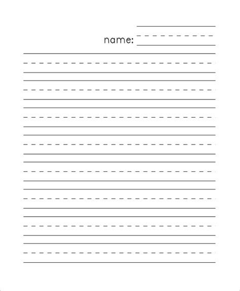 preschool handwriting paper 8 sample lined papers sample templates 858