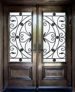 Exceptional Fiberglass Entry Door With Wrought Iron Scroll ...