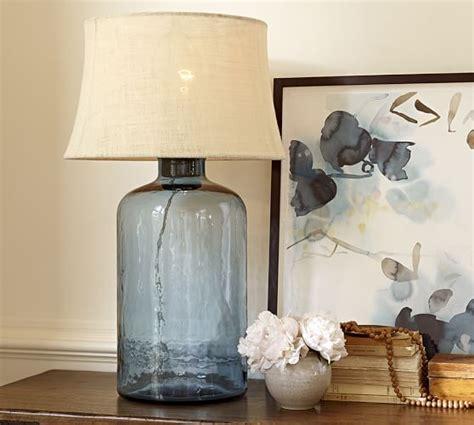 pottery barn glass l clift glass table l base light blue pottery barn