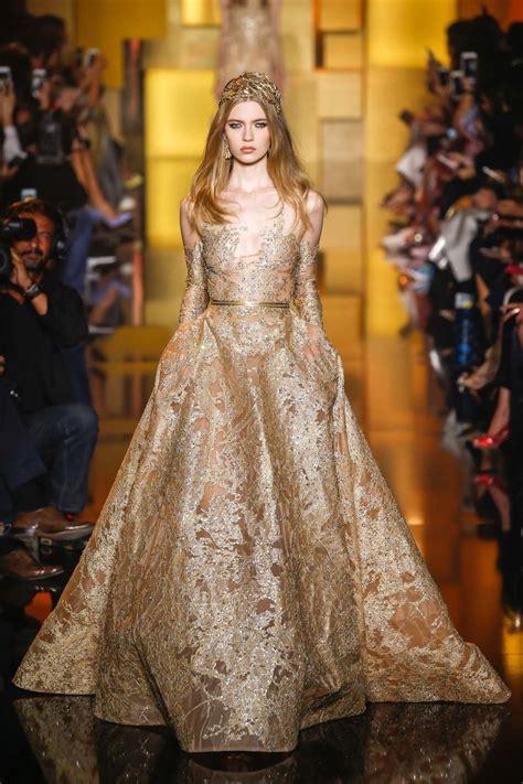 elie saab gold  silver wedding dresses collection