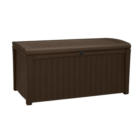 rubbermaid deck boxes home depot rubbermaid 93 gal bridgeport resin storage bench deck box