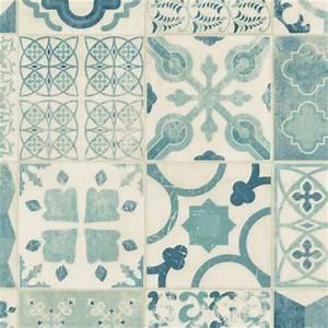 Vinyl Carreau Ciment : sol pvc lino imitation carreaux de ciment bleu ~ Preciouscoupons.com Idées de Décoration