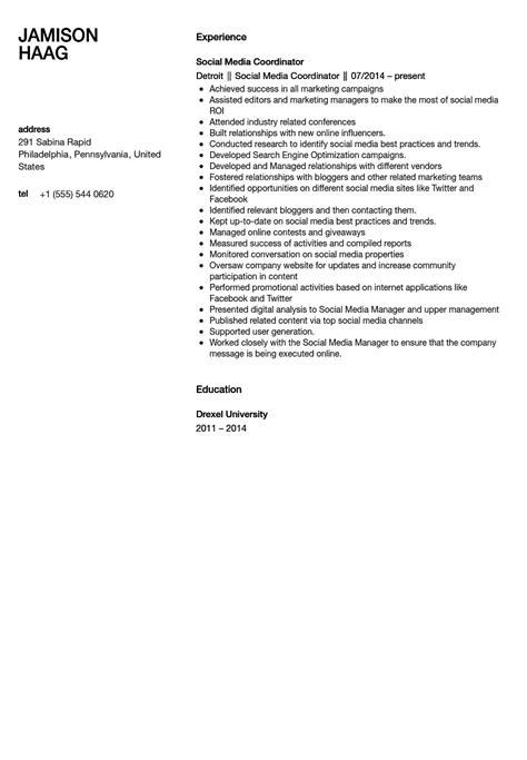social media coordinator resume sle velvet