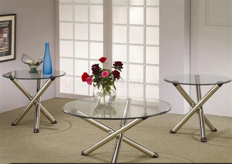 Nickle Plated Legs & Round Glass Top Modern 3pc Coffee