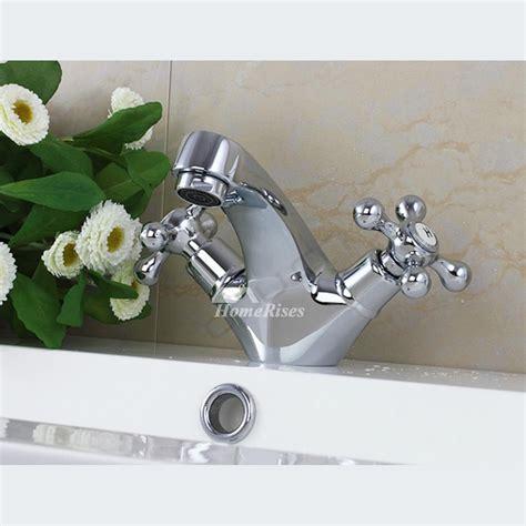 bathroom faucets  handle cross chrome silver centerset