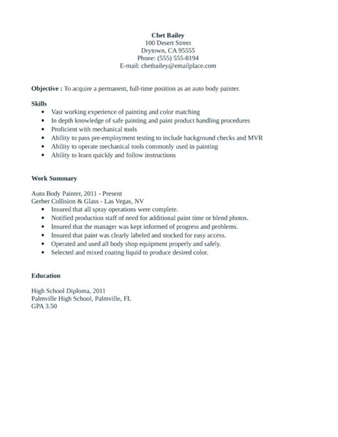 entry level freshers painter resume template