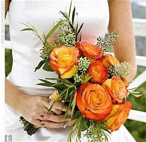 The bouquets and boutonnieres featured circus roses ...