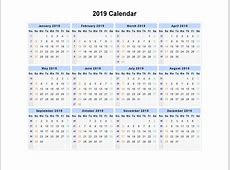 Free Yearly Blank Calendar 2019 Template Public Holidays