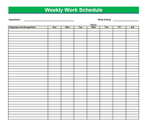 printable blank  weekly schedules blank  weekly