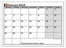 Kalender februari 2019, België Michel Zbinden NL