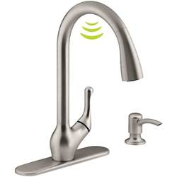 kohler barossa with response touchless technology single handle pull sprayer kitchen faucet