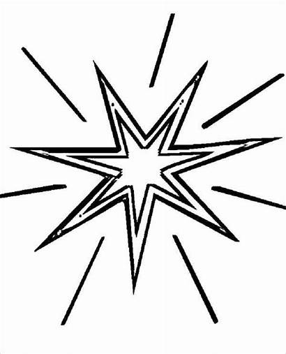 Coloring Star Pages Christmas Shining Drawing Clipart