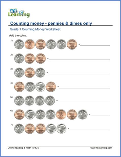 grade 1 counting money worksheets dimes and pennies k5