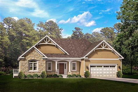 Exclusive One Story Craftsman House Plan With Two Master