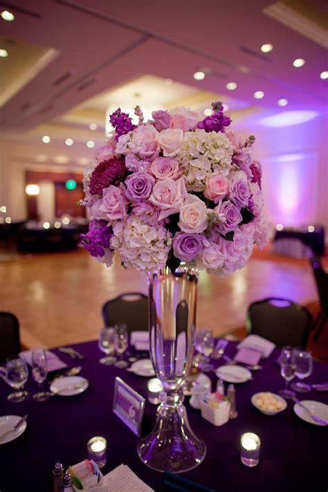 tall centerpiece  white purple  pink flowers