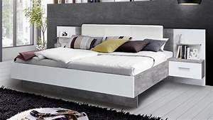 Bett Mit Nachttisch : bettanlage ginger bett mit nachttisch wei und betonoptik lichtgrau ~ Frokenaadalensverden.com Haus und Dekorationen
