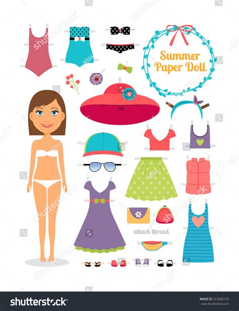 Cute Men Templates by Summer Paper Doll Girl Dress Hat Stock Vector 237600733
