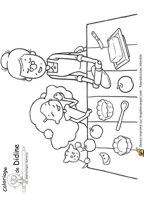 dessin pour cuisine coloriage mamie cuisine sur hugolescargot com