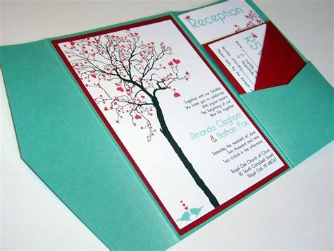 wedding invitation diy pocketfold heart tree printable